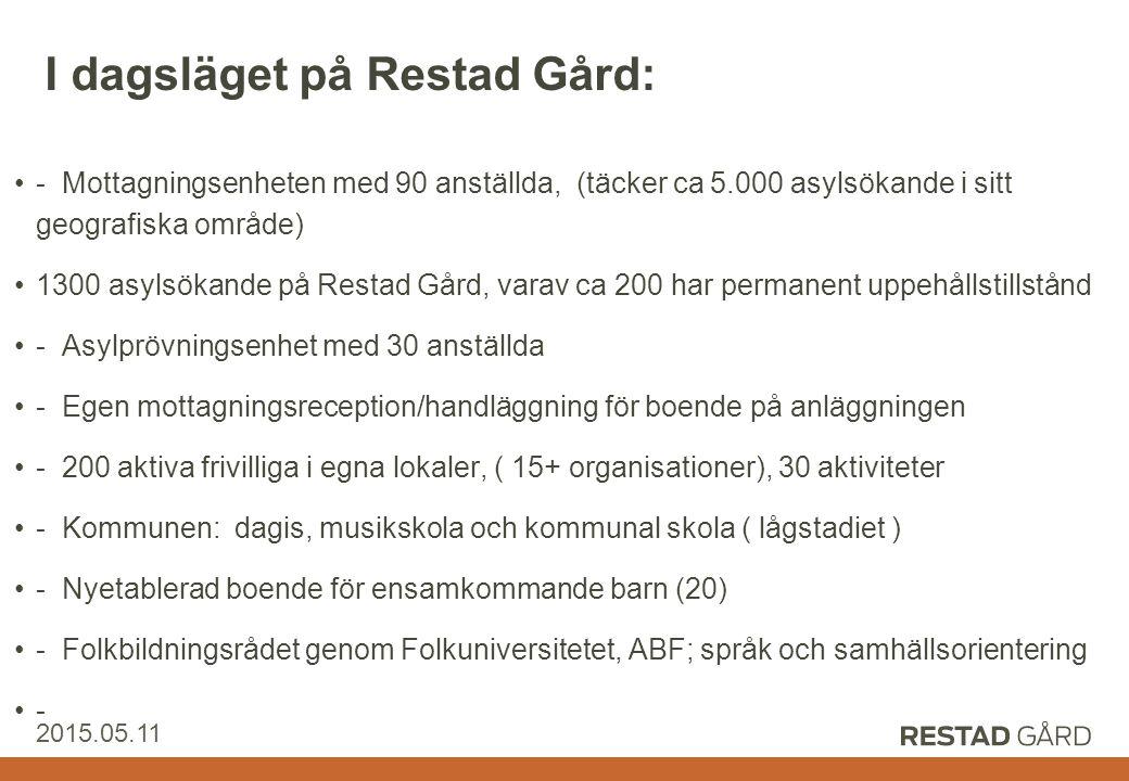 Restad Gård AB 2015.05.11 I dagsläget på Restad Gård: - Mottagningsenheten med 90 anställda, (täcker ca 5.000 asylsökande i sitt geografiska område) 1300 asylsökande på Restad Gård, varav ca 200 har permanent uppehållstillstånd - Asylprövningsenhet med 30 anställda - Egen mottagningsreception/handläggning för boende på anläggningen - 200 aktiva frivilliga i egna lokaler, ( 15+ organisationer), 30 aktiviteter - Kommunen: dagis, musikskola och kommunal skola ( lågstadiet ) - Nyetablerad boende för ensamkommande barn (20) - Folkbildningsrådet genom Folkuniversitetet, ABF; språk och samhällsorientering -