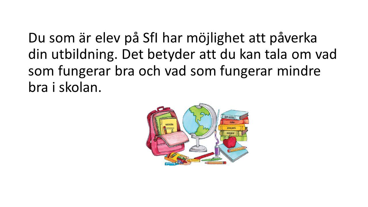 Du som är elev på SfI har möjlighet att påverka din utbildning.
