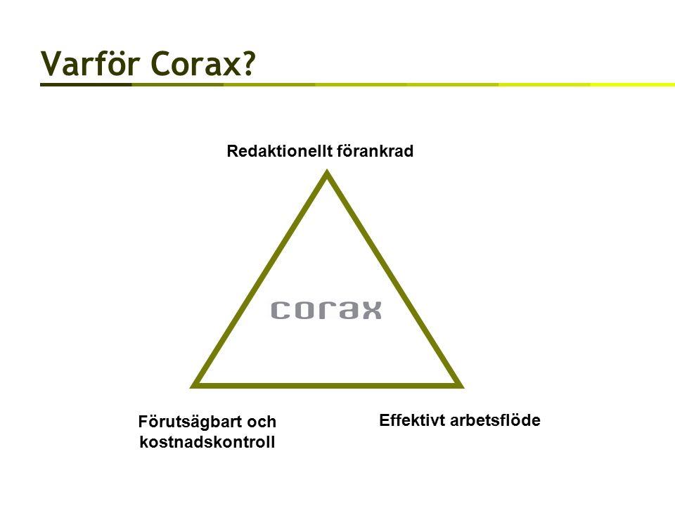 Varför Corax Redaktionellt förankrad Förutsägbart och kostnadskontroll Effektivt arbetsflöde