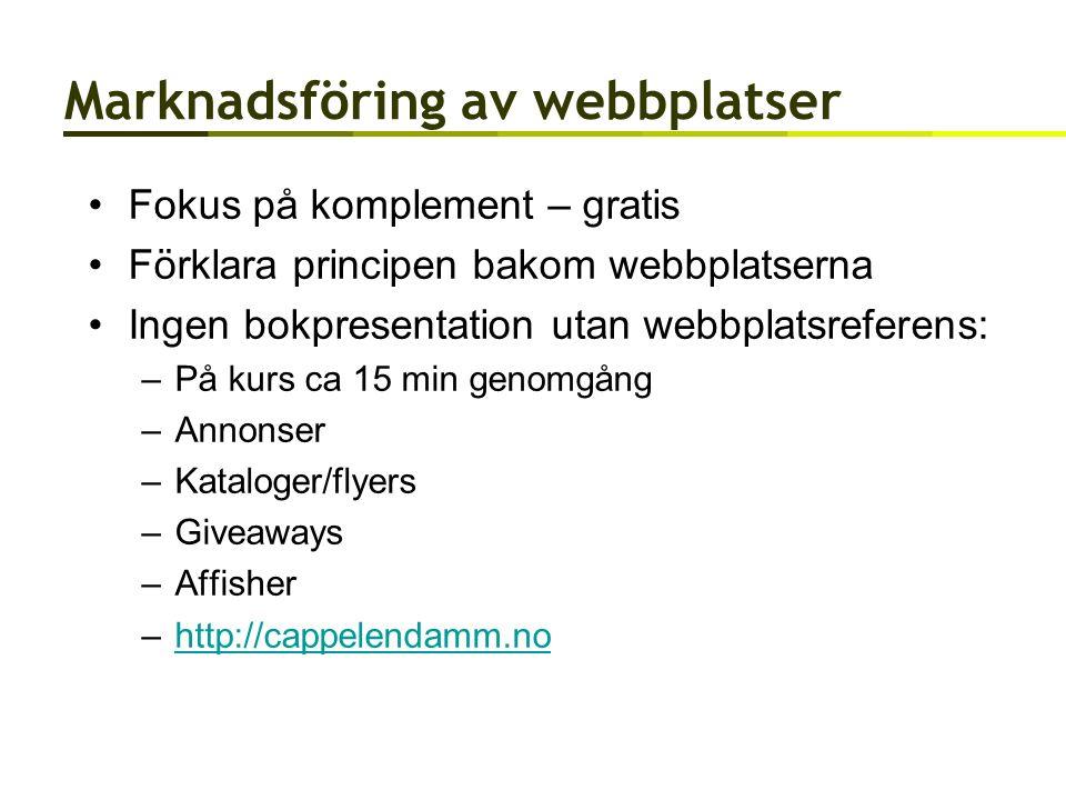 Marknadsföring av webbplatser Fokus på komplement – gratis Förklara principen bakom webbplatserna Ingen bokpresentation utan webbplatsreferens: –På kurs ca 15 min genomgång –Annonser –Kataloger/flyers –Giveaways –Affisher –http://cappelendamm.nohttp://cappelendamm.no