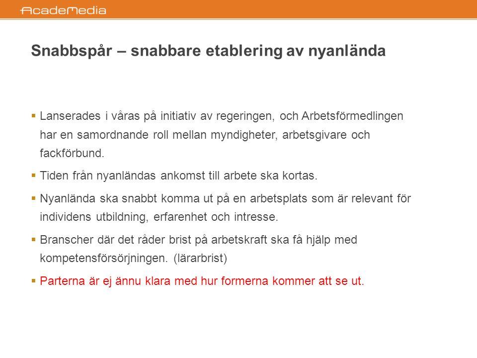  Beståndsdelar:  Svenskutbildning inleds redan i asylboenden.