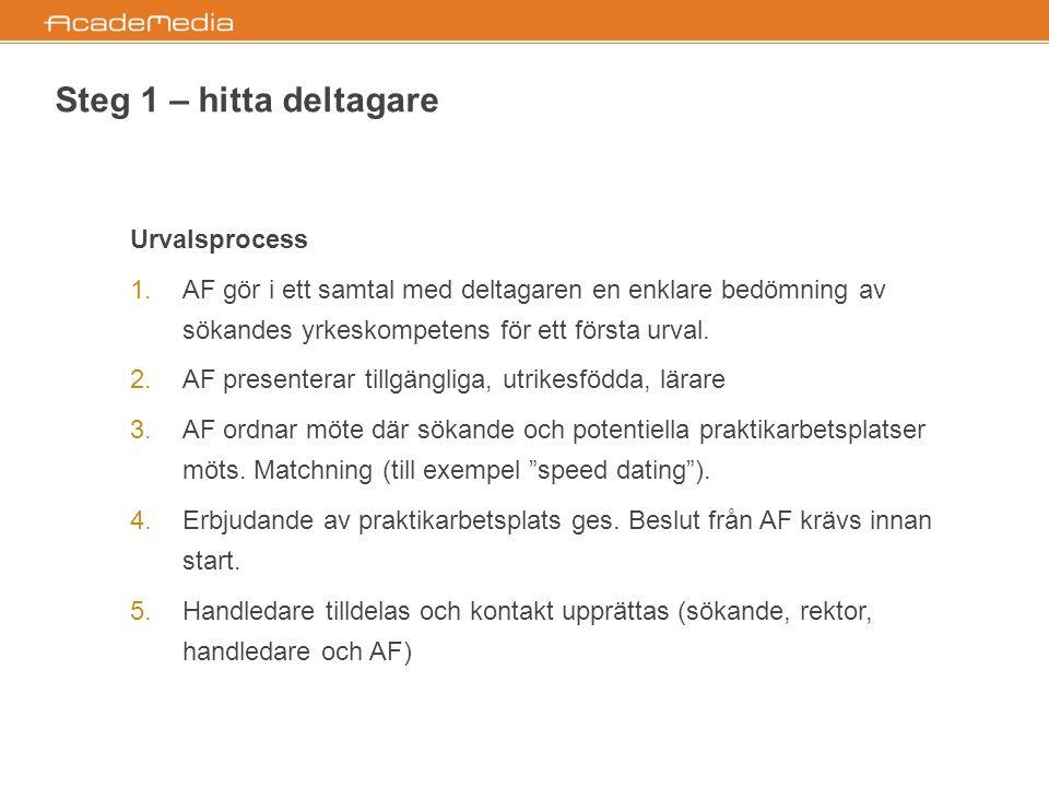Steg 2 – yrkeskompetensbedömning  Syftet är att arbetssökande ska få visa upp sina kunskaper och få dessa bedömda om de saknar, eller har begränsad, erfarenhet av svenskt arbetsliv.