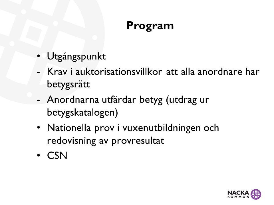 Program Utgångspunkt -Krav i auktorisationsvillkor att alla anordnare har betygsrätt -Anordnarna utfärdar betyg (utdrag ur betygskatalogen) Nationella prov i vuxenutbildningen och redovisning av provresultat CSN