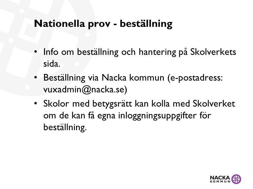Nationella prov - beställning Info om beställning och hantering på Skolverkets sida.