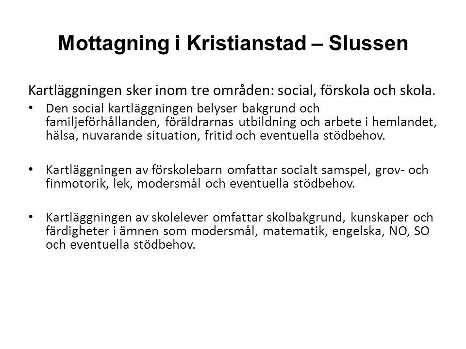 Mottagning i Kristianstad – Slussen Kartläggningen sker inom tre områden: social, förskola och skola.