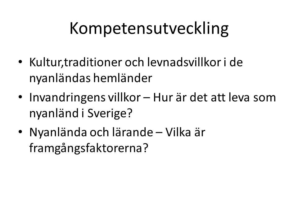 Kompetensutveckling Kultur,traditioner och levnadsvillkor i de nyanländas hemländer Invandringens villkor – Hur är det att leva som nyanländ i Sverige.