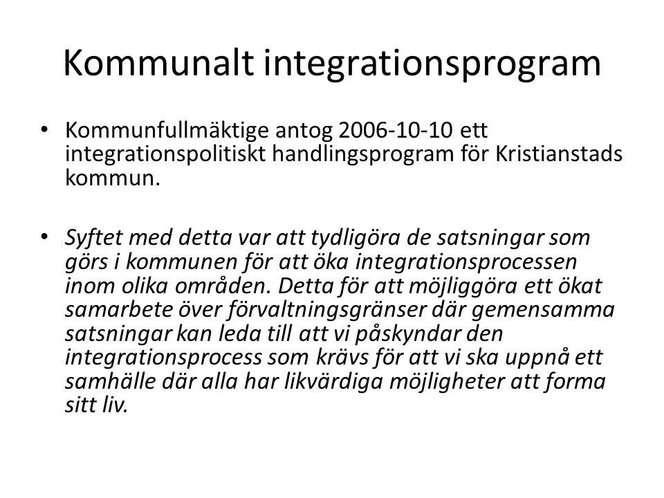 Kommunalt integrationsprogram Kommunfullmäktige antog 2006-10-10 ett integrationspolitiskt handlingsprogram för Kristianstads kommun.