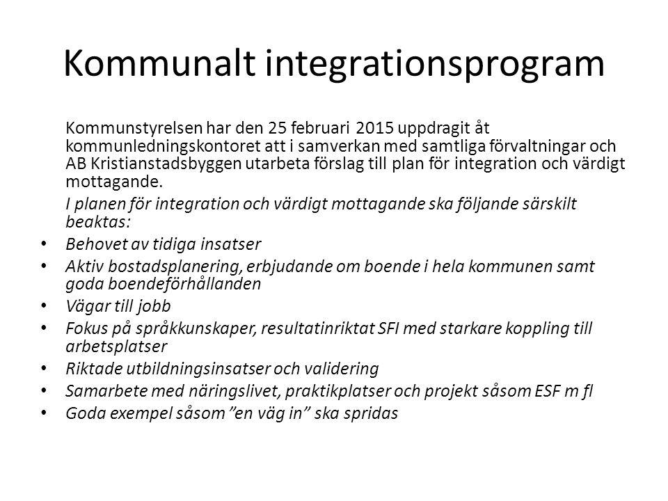 Kommunalt integrationsprogram Kommunstyrelsen har den 25 februari 2015 uppdragit åt kommunledningskontoret att i samverkan med samtliga förvaltningar och AB Kristianstadsbyggen utarbeta förslag till plan för integration och värdigt mottagande.