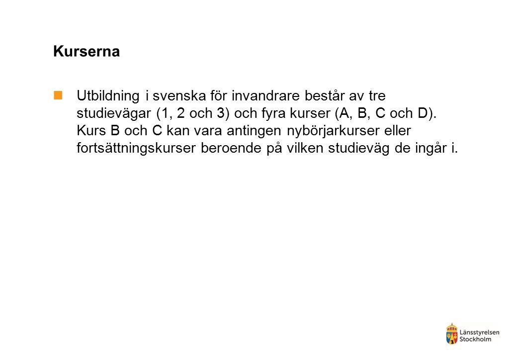 Kurserna Utbildning i svenska för invandrare består av tre studievägar (1, 2 och 3) och fyra kurser (A, B, C och D). Kurs B och C kan vara antingen ny
