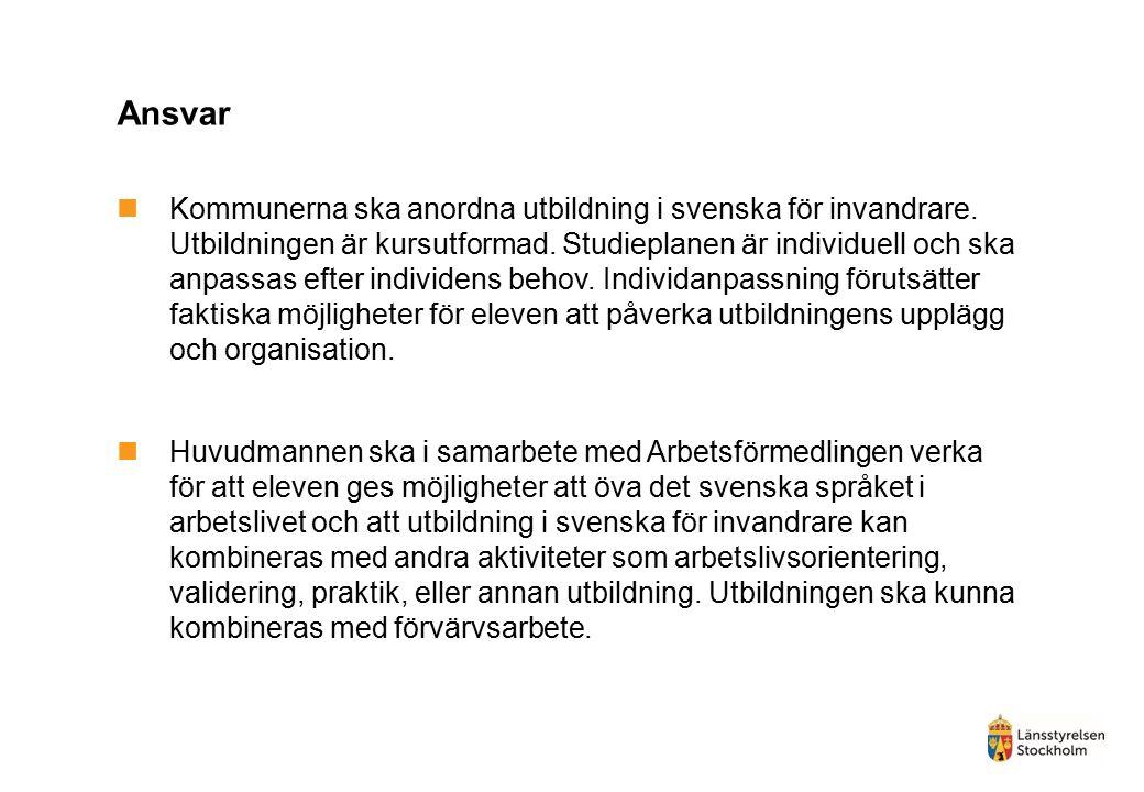 Ansvar Kommunerna ska anordna utbildning i svenska för invandrare.