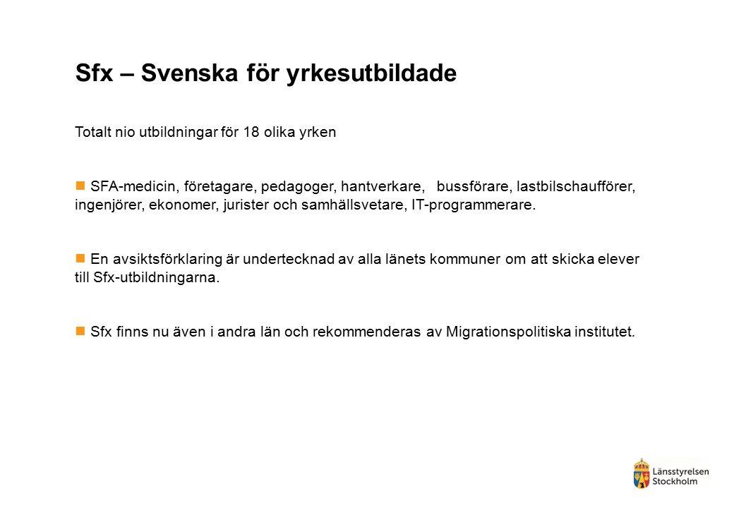Sfx – Svenska för yrkesutbildade Totalt nio utbildningar för 18 olika yrken SFA-medicin, företagare, pedagoger, hantverkare, bussförare, lastbilschaufförer, ingenjörer, ekonomer, jurister och samhällsvetare, IT-programmerare.