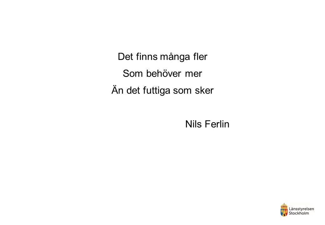Det finns många fler Som behöver mer Än det futtiga som sker Nils Ferlin