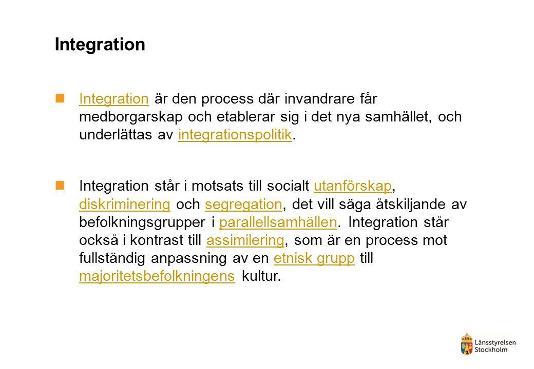 Integration Integration är den process där invandrare får medborgarskap och etablerar sig i det nya samhället, och underlättas av integrationspolitik.