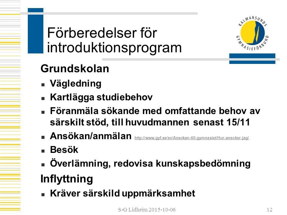 S-G Lidheim 2015-10-06 Förberedelser för introduktionsprogram Grundskolan Vägledning Kartlägga studiebehov Föranmäla sökande med omfattande behov av särskilt stöd, till huvudmannen senast 15/11 Ansökan/anmälan http://www.gyf.se/sv/Ansokan-till-gymnasiet/Hur-ansoker-jag/ http://www.gyf.se/sv/Ansokan-till-gymnasiet/Hur-ansoker-jag/ Besök Överlämning, redovisa kunskapsbedömning Inflyttning Kräver särskild uppmärksamhet 12
