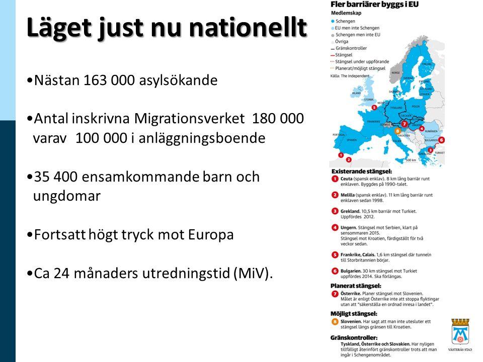 Läget just nu nationellt Nästan 163 000 asylsökande Antal inskrivna Migrationsverket 180 000 varav 100 000 i anläggningsboende 35 400 ensamkommande barn och ungdomar Fortsatt högt tryck mot Europa Ca 24 månaders utredningstid (MiV).
