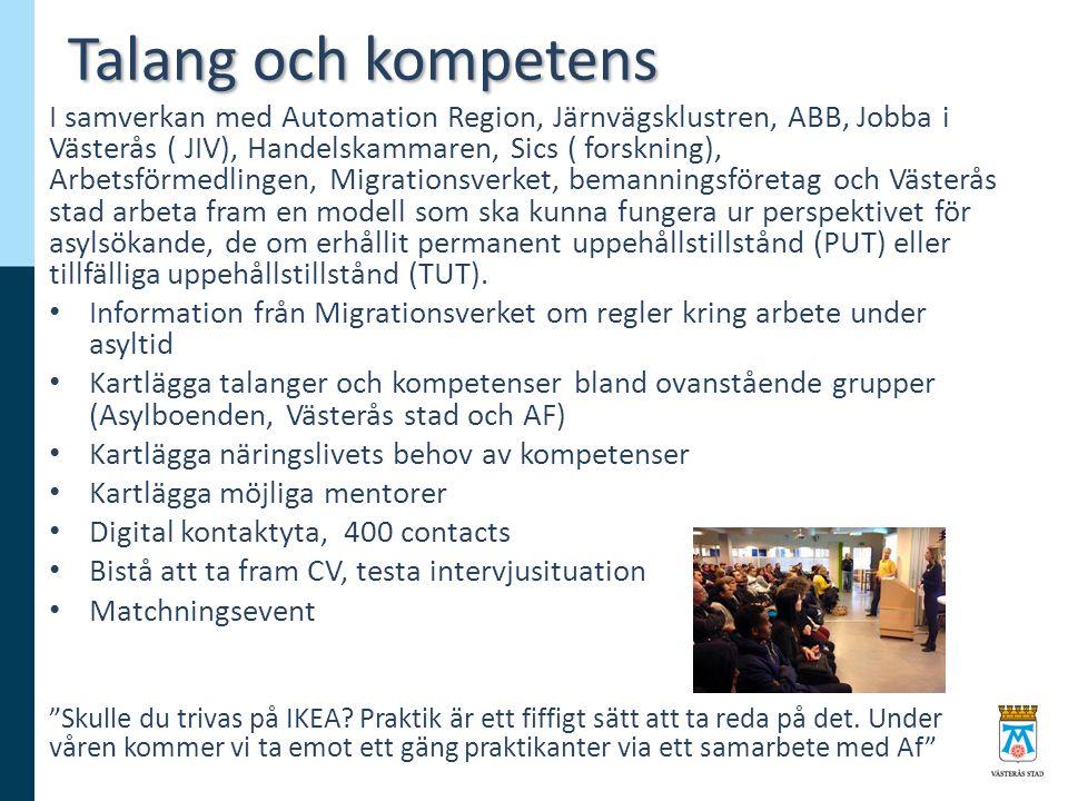 Talang och kompetens I samverkan med Automation Region, Järnvägsklustren, ABB, Jobba i Västerås ( JIV), Handelskammaren, Sics ( forskning), Arbetsförmedlingen, Migrationsverket, bemanningsföretag och Västerås stad arbeta fram en modell som ska kunna fungera ur perspektivet för asylsökande, de om erhållit permanent uppehållstillstånd (PUT) eller tillfälliga uppehållstillstånd (TUT).