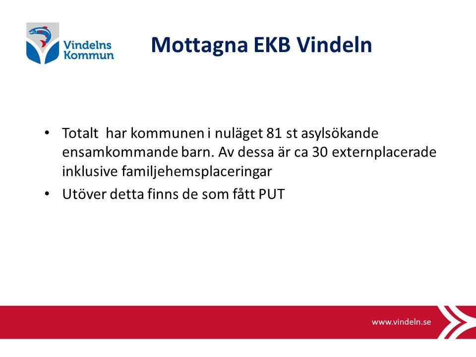 Mottagna EKB Vindeln Totalt har kommunen i nuläget 81 st asylsökande ensamkommande barn.