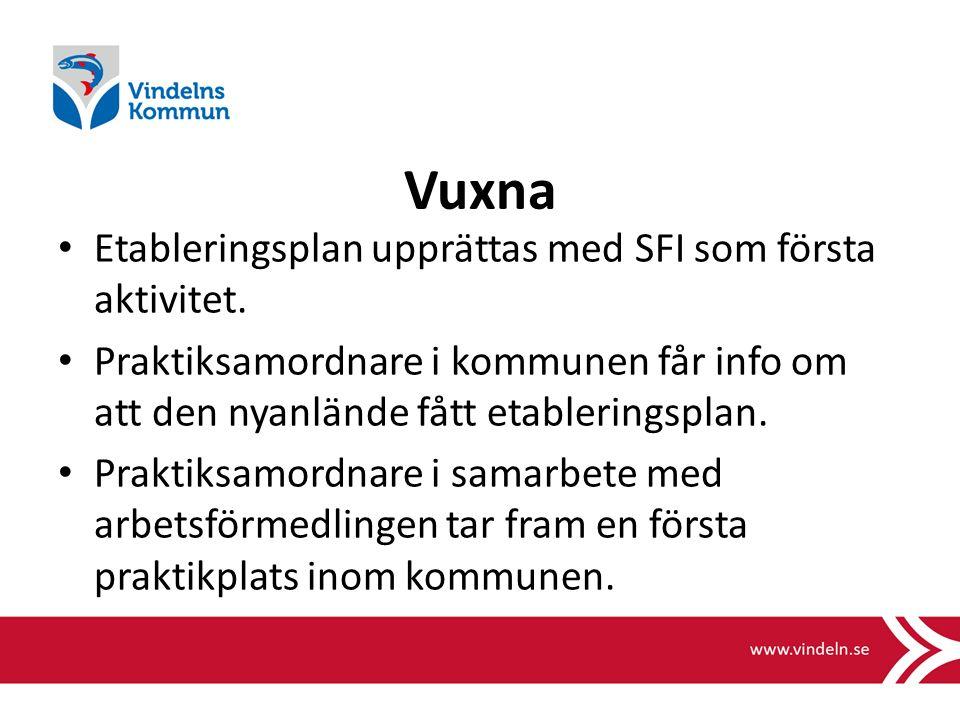 Vuxna Etableringsplan upprättas med SFI som första aktivitet.
