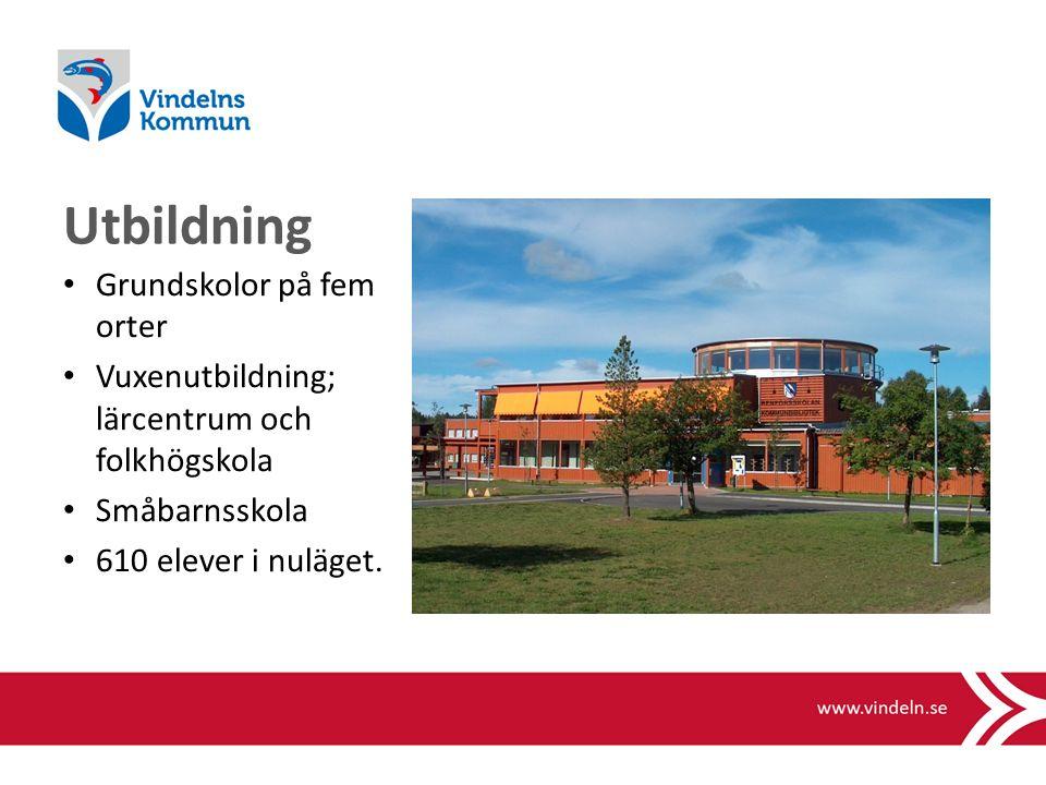 Utbildning Grundskolor på fem orter Vuxenutbildning; lärcentrum och folkhögskola Småbarnsskola 610 elever i nuläget.