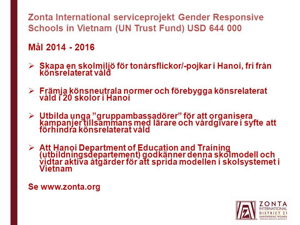 Zonta International serviceprojekt Gender Responsive Schools in Vietnam (UN Trust Fund) USD 644 000 Mål 2014 - 2016  Skapa en skolmiljö för tonårsflickor/-pojkar i Hanoi, fri från könsrelaterat våld  Främja könsneutrala normer och förebygga könsrelaterat våld i 20 skolor i Hanoi  Utbilda unga gruppambassadörer för att organisera kampanjer tillsammans med lärare och vårdgivare i syfte att förhindra könsrelaterat våld  Att Hanoi Department of Education and Training (utbildningsdepartement) godkänner denna skolmodell och vidtar aktiva åtgärder för att sprida modellen i skolsystemet i Vietnam Se www.zonta.org