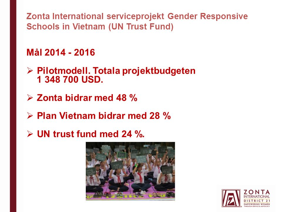 Zonta International serviceprojekt Gender Responsive Schools in Vietnam (UN Trust Fund) Mål 2014 - 2016  Pilotmodell.