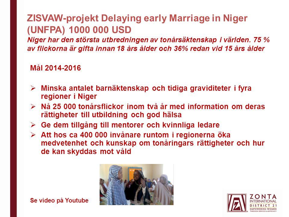 ZISVAW-projekt Delaying early Marriage in Niger (UNFPA) 1000 000 USD Niger har den största utbredningen av tonårsäktenskap i världen.