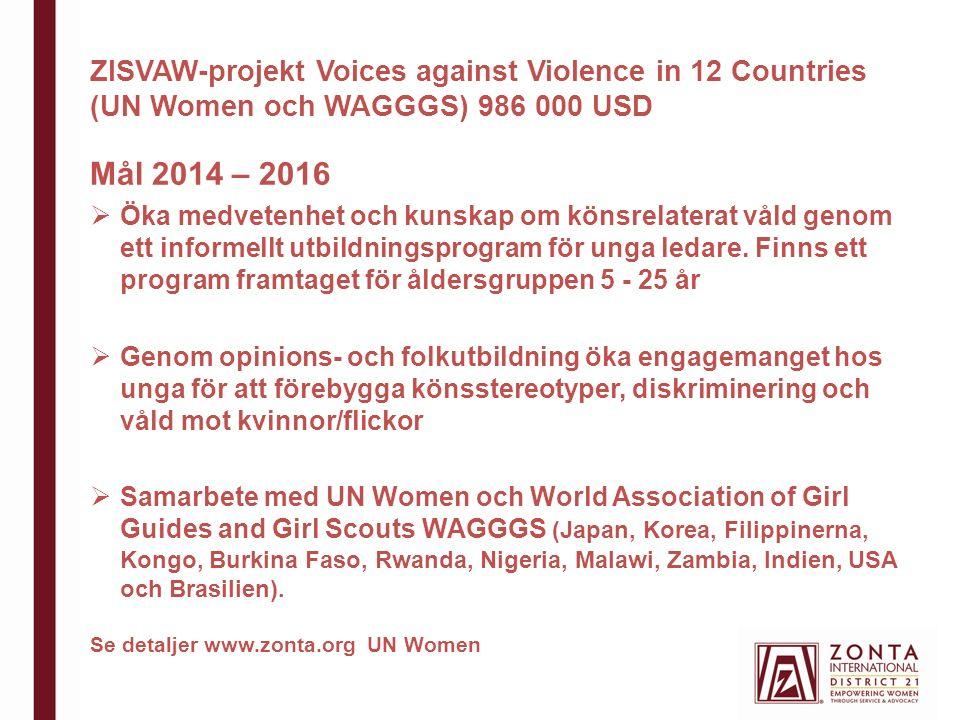 ZISVAW-projekt Voices against Violence in 12 Countries (UN Women och WAGGGS) 986 000 USD Mål 2014 – 2016  Öka medvetenhet och kunskap om könsrelaterat våld genom ett informellt utbildningsprogram för unga ledare.
