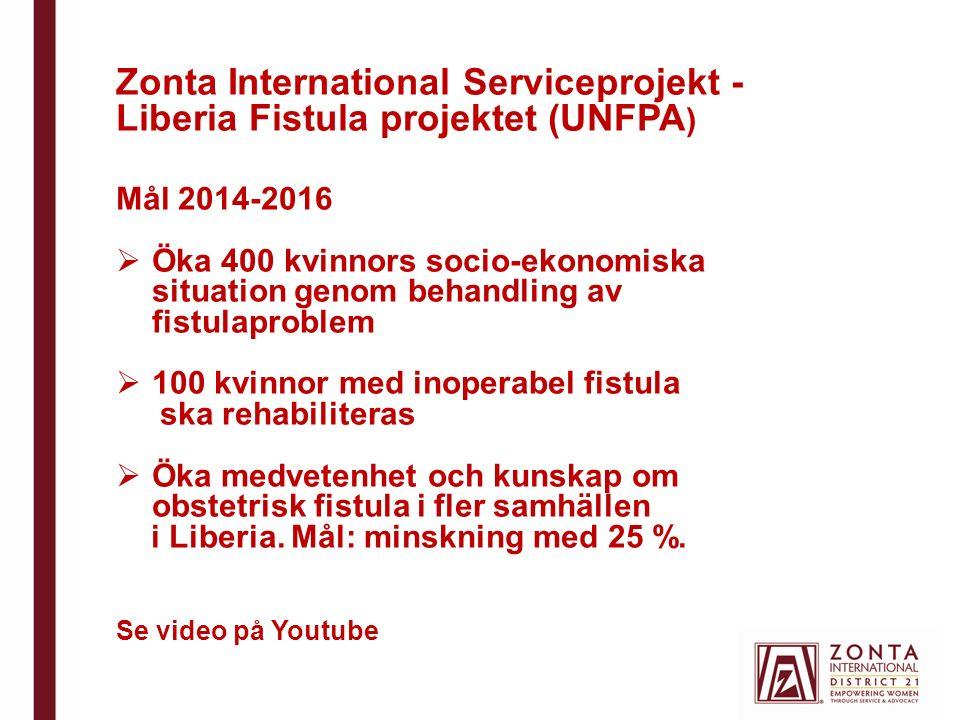 Zonta International Serviceprojekt - Liberia Fistula projektet (UNFPA ) Mål 2014-2016  Öka 400 kvinnors socio-ekonomiska situation genom behandling a