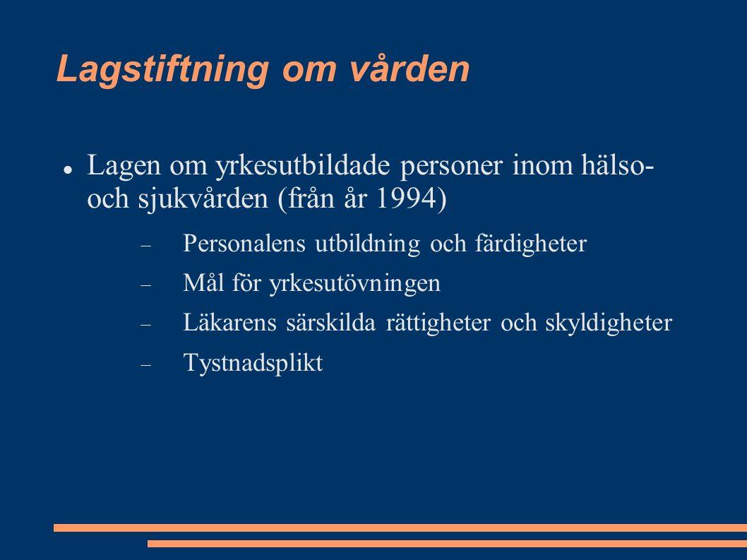 Lagstiftning om vården Lagen om yrkesutbildade personer inom hälso- och sjukvården (från år 1994)  Personalens utbildning och färdigheter  Mål för yrkesutövningen  Läkarens särskilda rättigheter och skyldigheter  Tystnadsplikt
