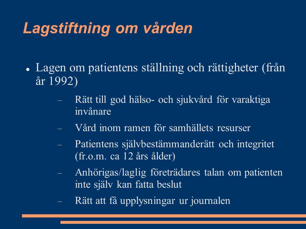 Lagstiftning om vården Lagen om patientens ställning och rättigheter (från år 1992)  Rätt till god hälso- och sjukvård för varaktiga invånare  Vård inom ramen för samhällets resurser  Patientens självbestämmanderätt och integritet (fr.o.m.