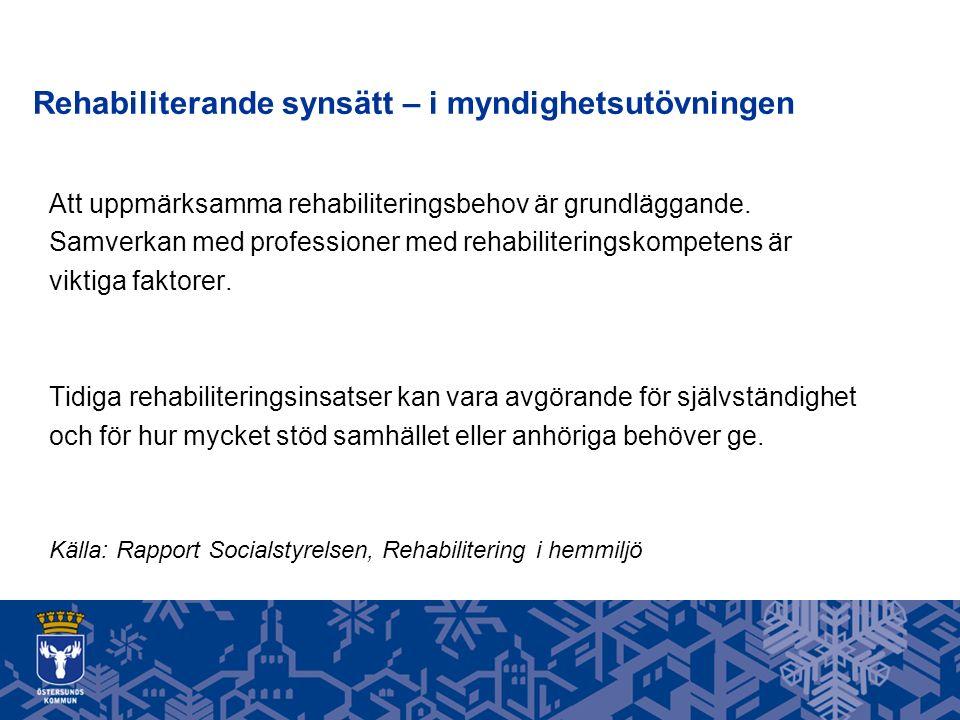 Rehabiliterande synsätt – i myndighetsutövningen Att uppmärksamma rehabiliteringsbehov är grundläggande.