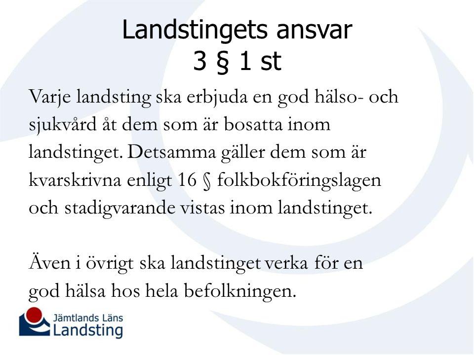 Landstingets ansvar 3 § 1 st Varje landsting ska erbjuda en god hälso- och sjukvård åt dem som är bosatta inom landstinget.