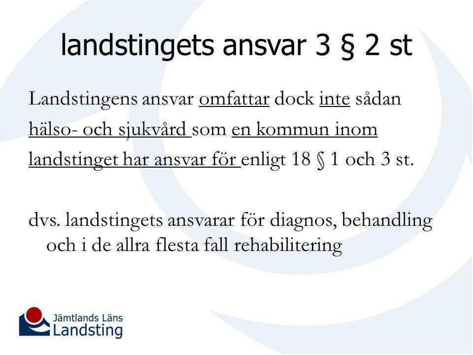 landstingets ansvar 3 § 2 st Landstingens ansvar omfattar dock inte sådan hälso- och sjukvård som en kommun inom landstinget har ansvar för enligt 18 § 1 och 3 st.