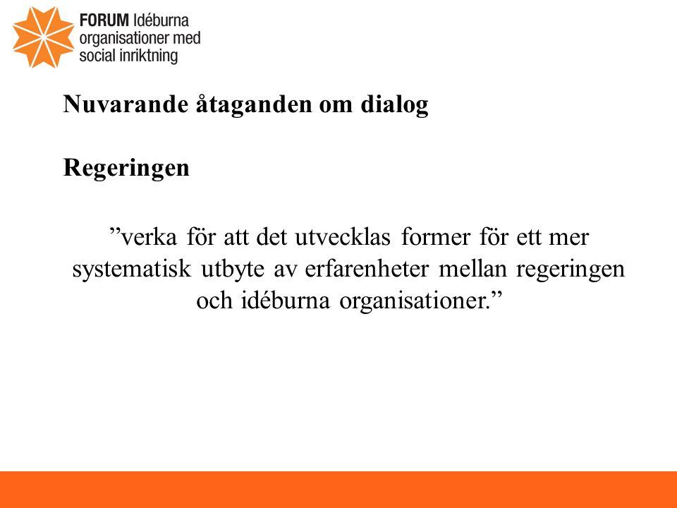 Nuvarande åtaganden om dialog Regeringen verka för att det utvecklas former för ett mer systematisk utbyte av erfarenheter mellan regeringen och idéburna organisationer.