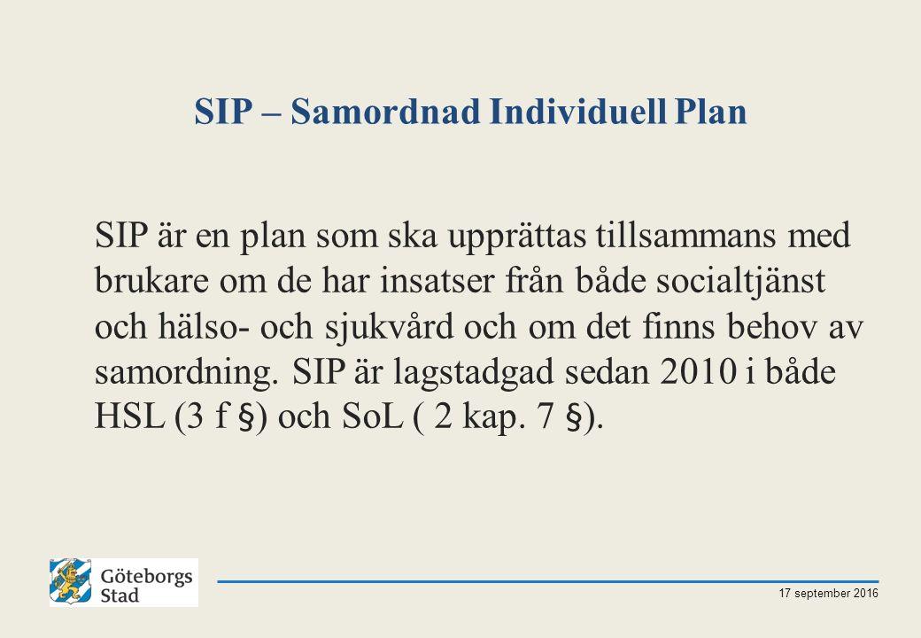 SIP – Samordnad Individuell Plan 17 september 2016 SIP är en plan som ska upprättas tillsammans med brukare om de har insatser från både socialtjänst och hälso- och sjukvård och om det finns behov av samordning.