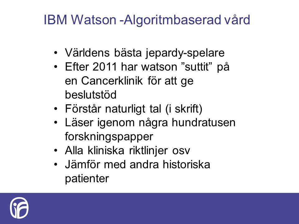 IBM Watson -Algoritmbaserad vård Världens bästa jepardy-spelare Efter 2011 har watson suttit på en Cancerklinik för att ge beslutstöd Förstår naturligt tal (i skrift) Läser igenom några hundratusen forskningspapper Alla kliniska riktlinjer osv Jämför med andra historiska patienter