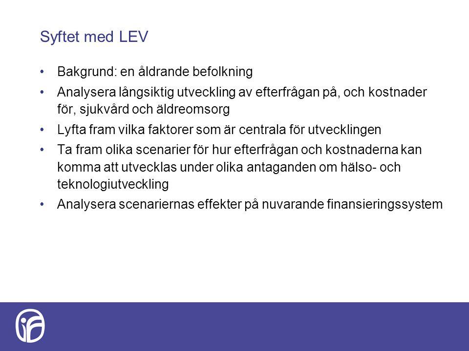 Syftet med LEV Bakgrund: en åldrande befolkning Analysera långsiktig utveckling av efterfrågan på, och kostnader för, sjukvård och äldreomsorg Lyfta fram vilka faktorer som är centrala för utvecklingen Ta fram olika scenarier för hur efterfrågan och kostnaderna kan komma att utvecklas under olika antaganden om hälso- och teknologiutveckling Analysera scenariernas effekter på nuvarande finansieringssystem