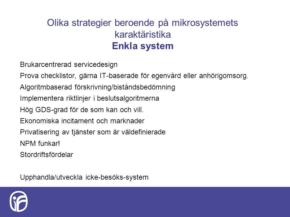 Olika strategier beroende på mikrosystemets karaktäristika Enkla system Brukarcentrerad servicedesign Prova checklistor, gärna IT-baserade för egenvård eller anhörigomsorg.