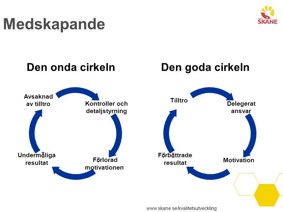 Medskapande Den onda cirkelnDen goda cirkeln Kontroller och detaljstyrning F ö rlorad motivationen Underm å liga resultat Avsaknad av tilltro Delegera