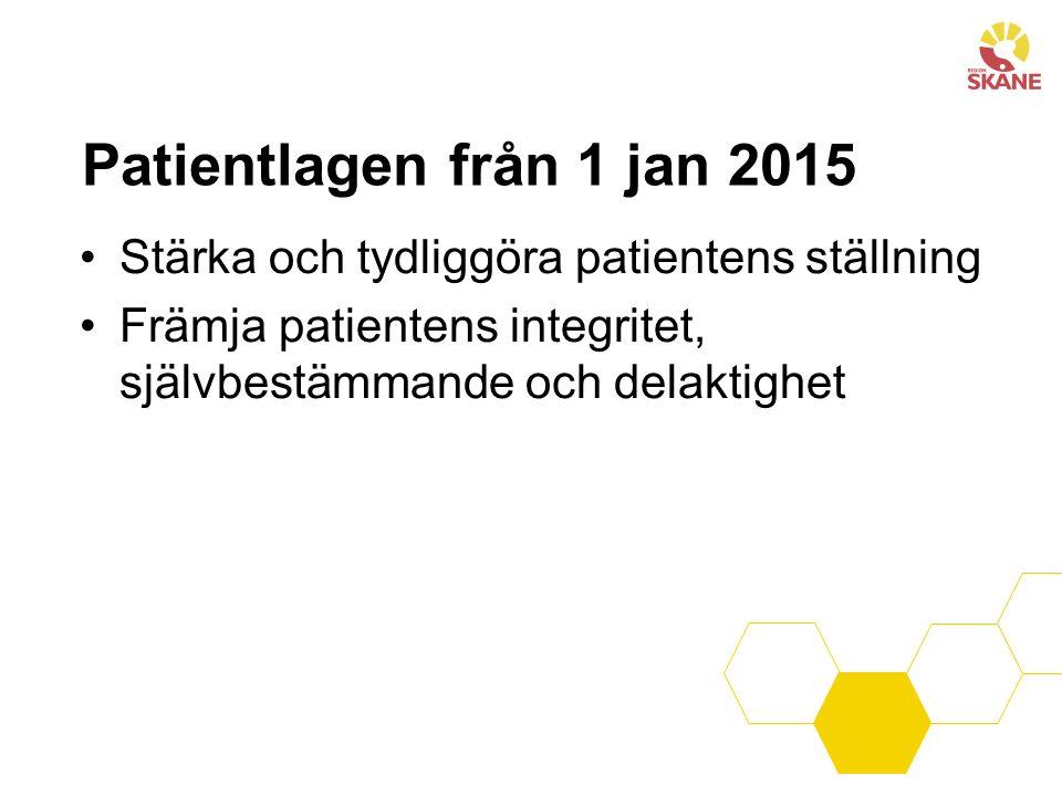Patientlagen från 1 jan 2015 Stärka och tydliggöra patientens ställning Främja patientens integritet, självbestämmande och delaktighet