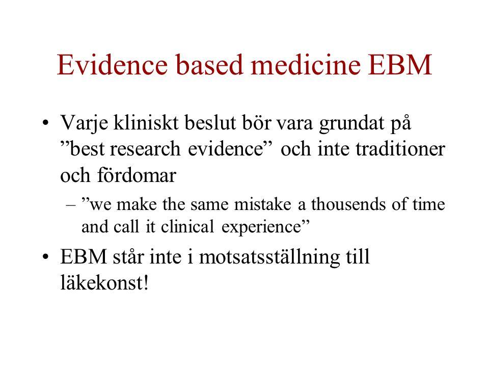 Evidence based medicine EBM Varje kliniskt beslut bör vara grundat på best research evidence och inte traditioner och fördomar – we make the same mistake a thousends of time and call it clinical experience EBM står inte i motsatsställning till läkekonst!