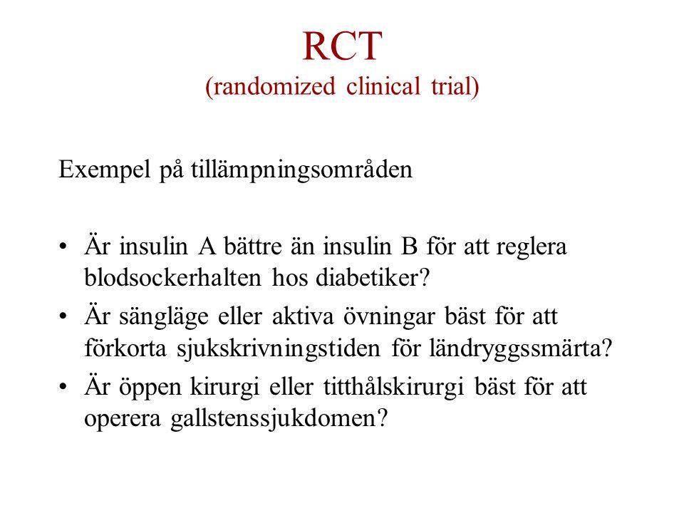 RCT (randomized clinical trial) Exempel på tillämpningsområden Är insulin A bättre än insulin B för att reglera blodsockerhalten hos diabetiker.