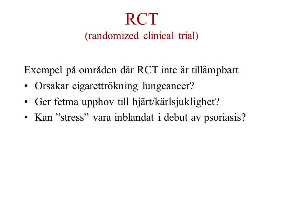 RCT (randomized clinical trial) Exempel på områden där RCT inte är tillämpbart Orsakar cigarettrökning lungcancer.