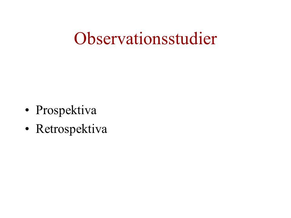 Observationsstudier Prospektiva Retrospektiva
