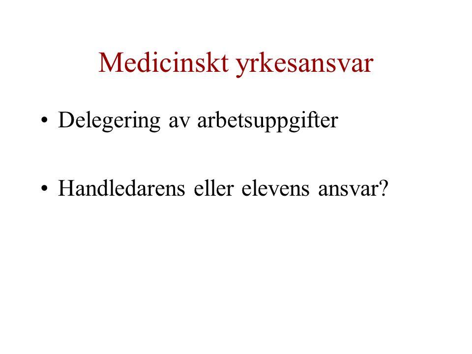 Medicinskt yrkesansvar Delegering av arbetsuppgifter Handledarens eller elevens ansvar