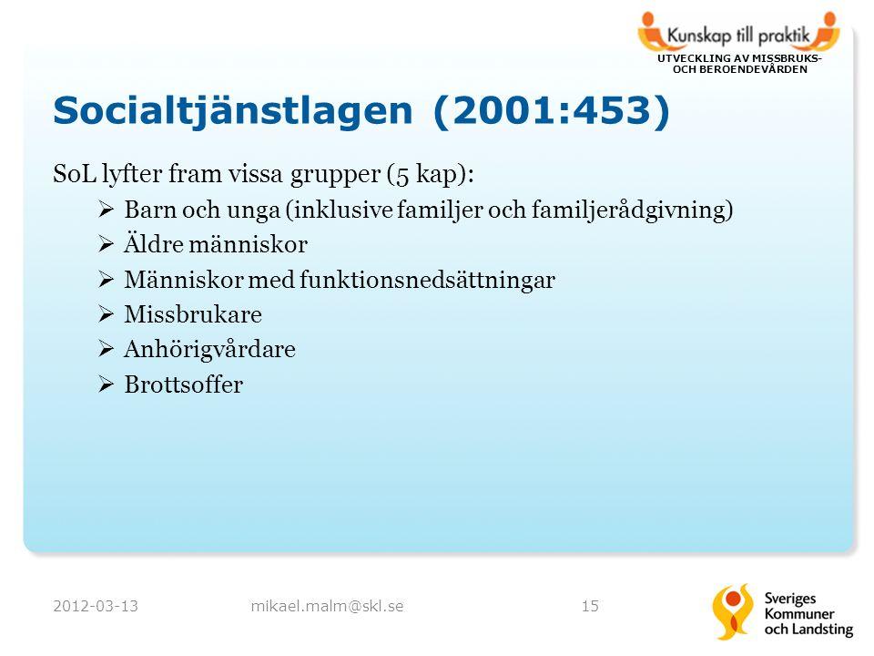 UTVECKLING AV MISSBRUKS- OCH BEROENDEVÅRDEN Socialtjänstlagen (2001:453) SoL lyfter fram vissa grupper (5 kap):  Barn och unga (inklusive familjer och familjerådgivning)  Äldre människor  Människor med funktionsnedsättningar  Missbrukare  Anhörigvårdare  Brottsoffer 2012-03-13mikael.malm@skl.se15