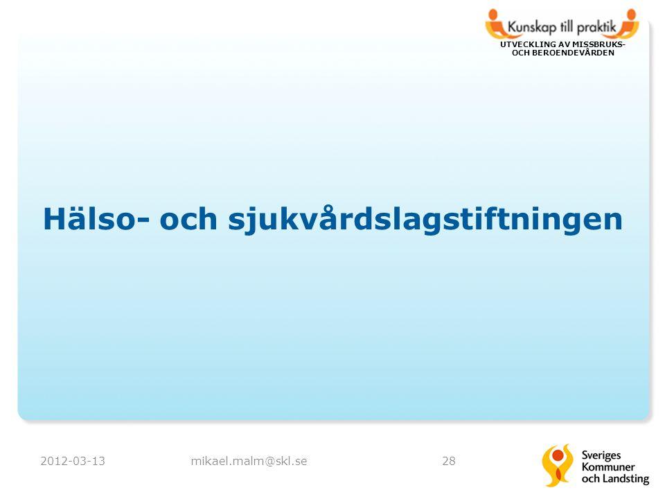 UTVECKLING AV MISSBRUKS- OCH BEROENDEVÅRDEN Hälso- och sjukvårdslagstiftningen 2012-03-13mikael.malm@skl.se28