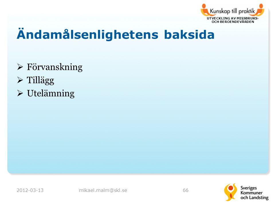UTVECKLING AV MISSBRUKS- OCH BEROENDEVÅRDEN Ändamålsenlighetens baksida  Förvanskning  Tillägg  Utelämning 2012-03-13mikael.malm@skl.se66