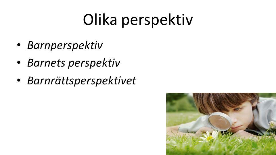 Olika perspektiv Barnperspektiv Barnets perspektiv Barnrättsperspektivet