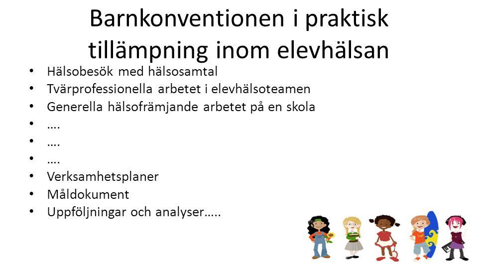 Barnkonventionen i praktisk tillämpning inom elevhälsan Hälsobesök med hälsosamtal Tvärprofessionella arbetet i elevhälsoteamen Generella hälsofrämjan